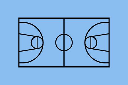 Basketball court illustration. Illustration