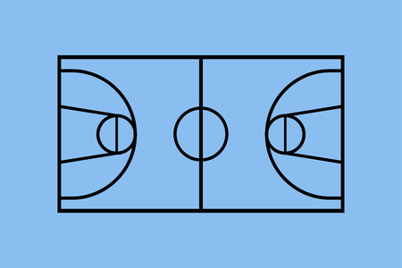 Basketball court illustration. Illustration