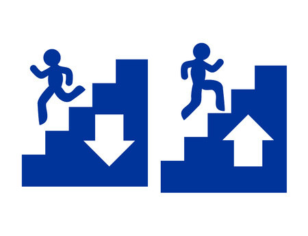 Climbing and going down stairs symbols Vectores