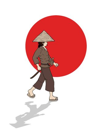 Japanese Warrior With Japan Flag Symbol Vector Illustration Royalty