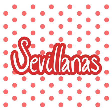 Sevillanas symboolillustratie op witte achtergrond.