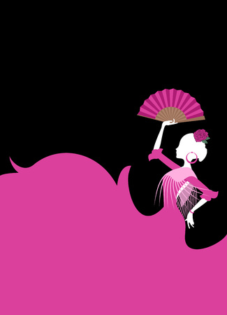 Gypsy Spanish dancer illustration on black background.