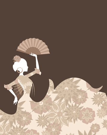 Spanish classic dancer illustration on gray background.