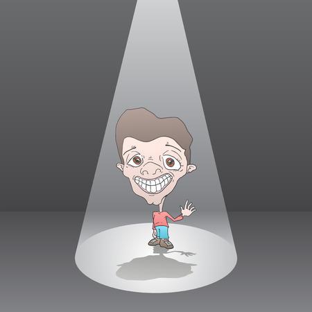 Homme de bande dessinée dans la lumière du soleil Banque d'images - 96336742