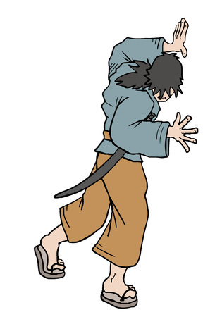 Character pushing lateral.