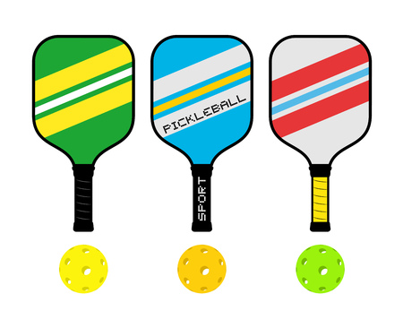Three pickle ball rackets illustration