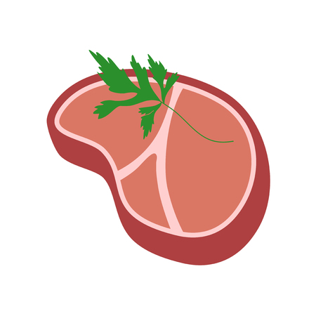 A meat and parsley illustration isolated on plain background Illustration