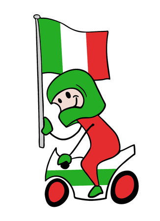 Motorbike rider with flag illustration Ilustração