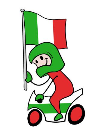 Motorbike rider with flag illustration Stock Illustratie