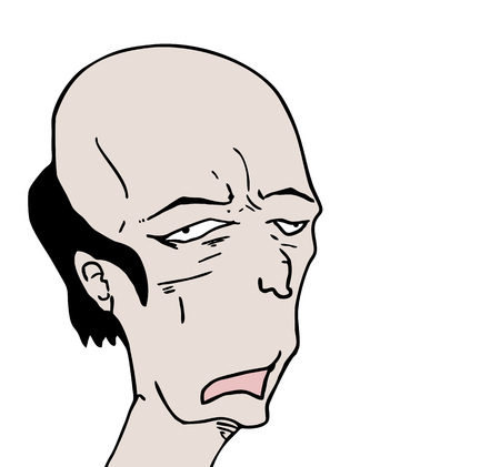 ugly bald man draw