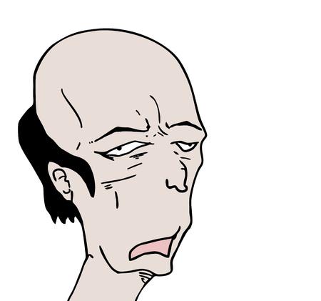 ugly bald man draw