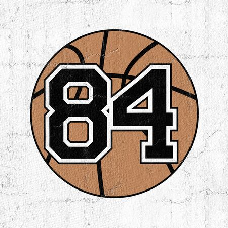 ball of basketball with the number 84 Stock Photo