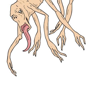A fantasy illustration of a monster hanging. Ilustrace