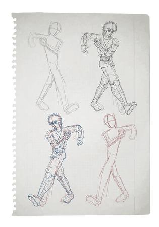 A warrior walking sketch on a notebook page. Illusztráció