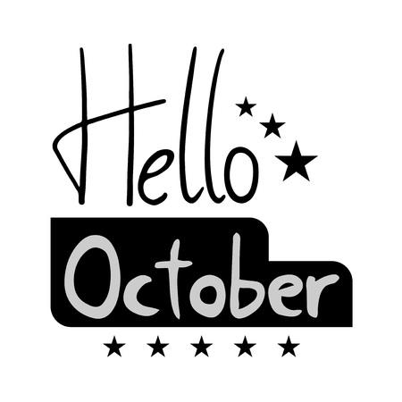 hello October symbol vector illustration. Archivio Fotografico - 99040226