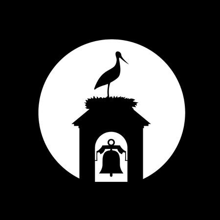 stork in tower bell illustration Çizim