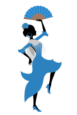Gypsy Spanish dancer vector illustration. 矢量图像