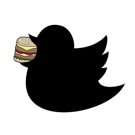 Fat bird eating burger illustration on white background.