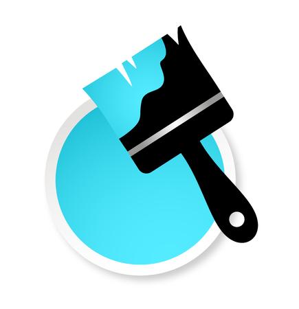 blue brush and paint pot