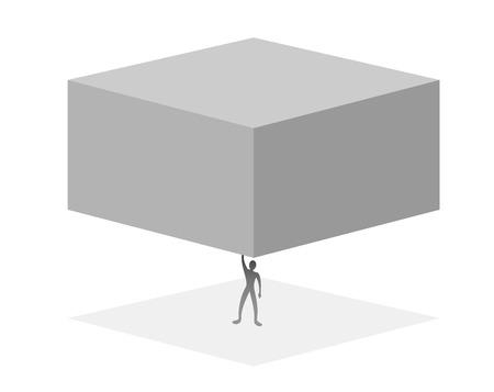 man lifting a big cube