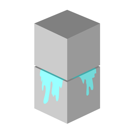 two cubes crushing a blue element
