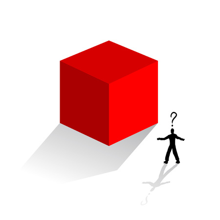mystery red cube and man thinking Stock Vector - 100684739