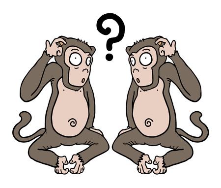 Two monkeys thinking Illustration