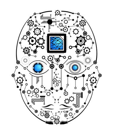 Tech human face Illusztráció