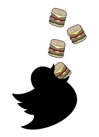Fat bird eating burger Çizim