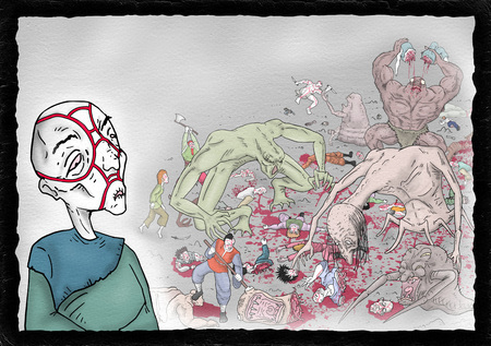 old man and war scene illustration