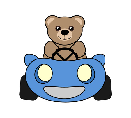 funny bear driving Ilustracja
