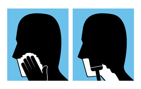 shaving man face icons