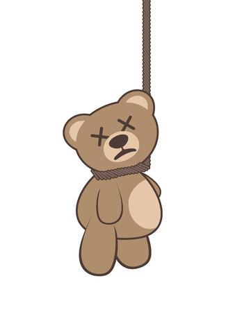 hanged bear illustration Illustration