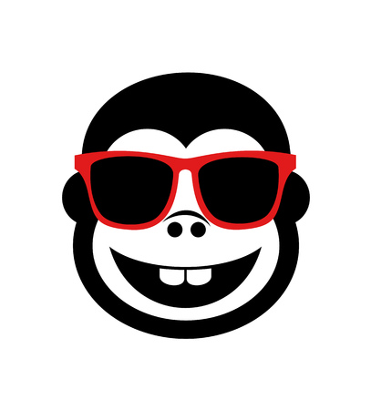 funny gorilla with glasses 向量圖像