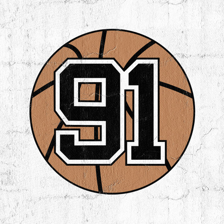 ball of basketball with the number 91 Stock Photo