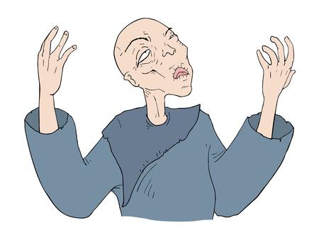 Old man praying 向量圖像