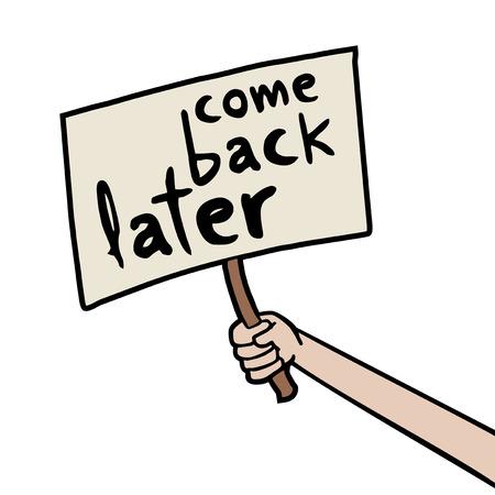 come back later message Illustration