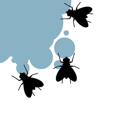 flies eating illustraiton  イラスト・ベクター素材
