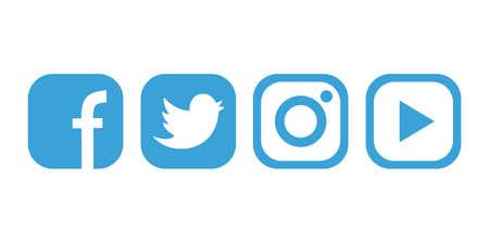 popular social networks icons Illustration