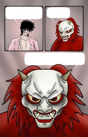 Evil demon comic background Stock Photo