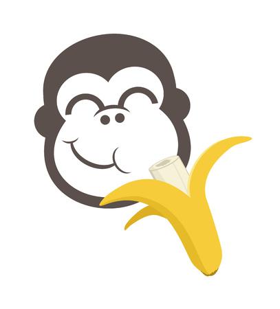 funny monkey eating bananas Illustration