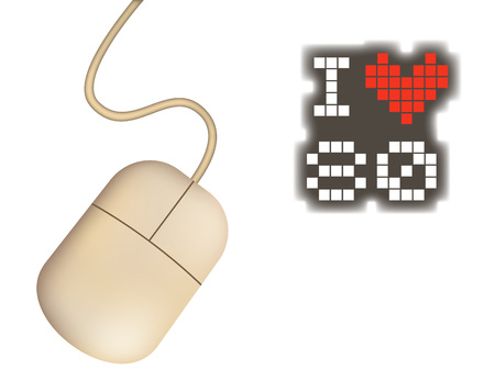 retro computer mouse and I love 80 message