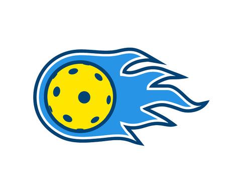 Pickleball en floorball bal symbool ontwerp