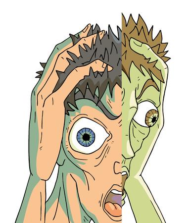 Expression d'homme de schizophrénie