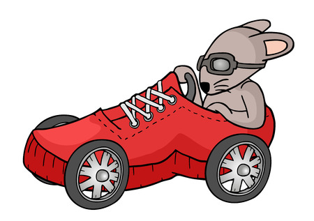rat driving a racing car Illustration