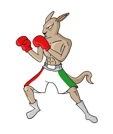 mexican boxing kangaroo illustration Ilustração