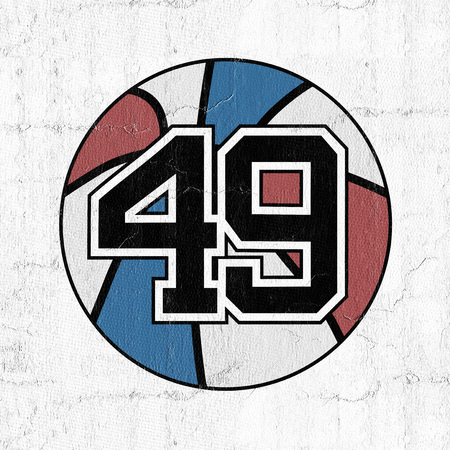 ball of basketball symbol with number 49