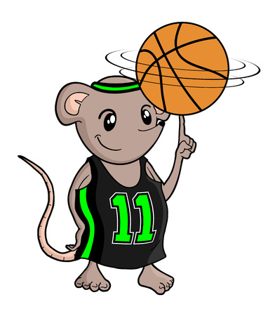funny small rat playing basket