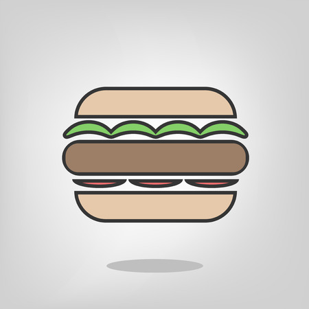 flat burger illustration Ilustracja