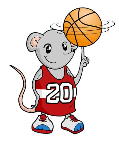 rat playing basket